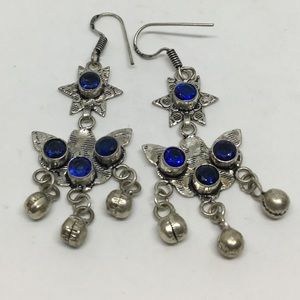 Long Dangle Silver Earrings with Indicolite